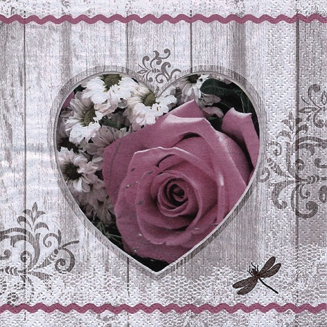 Napkins 33x33 cm - Coeur Rose Rustique vintage