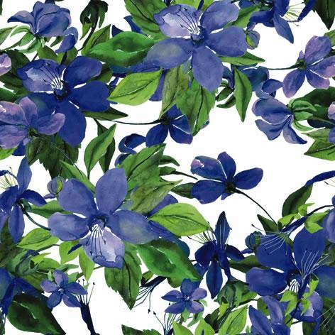 Napkins 33x33 cm - Flowering Clematis blue