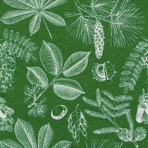 Servilletas 33x33 cm - Forêt Feuilles & Fruits moss