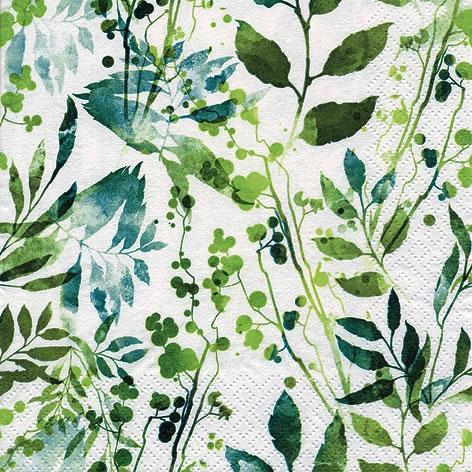 Servilletas 33x33 cm - Boho Leaves & Herbs green