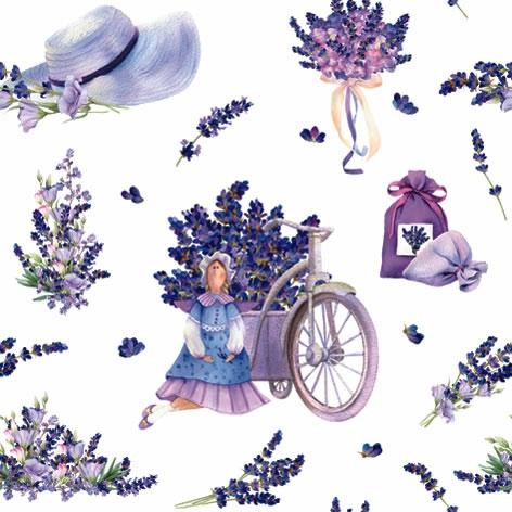 Servilletas 33x33 cm - Lavender Bouquets with Tilda Doll
