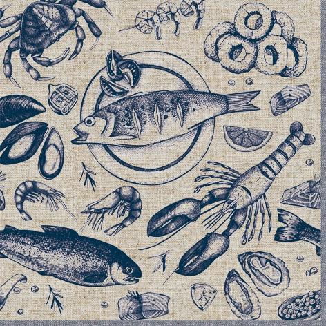 Servietten 33x33 cm - Delicious Seafood
