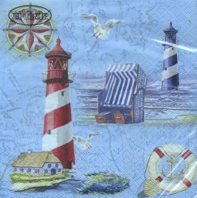 Serwetki 33x33 cm - Nautical Chart & Icons