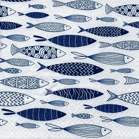 Napkins 33x33 cm - Shoal of Blue Fish