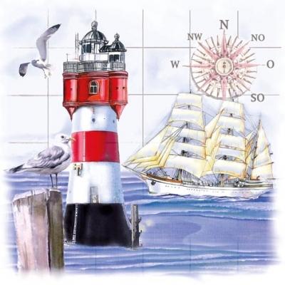 Serwetki 33x33 cm - Lighthouse & Compass