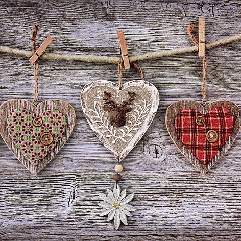 Napkins 33x33 cm - Rustic Hearts with Edelweiss