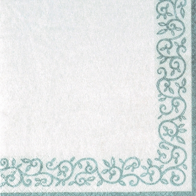 Napkins 33x33 cm - Romantic Border silver-white