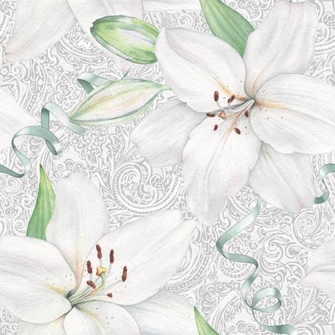 Napkins 33x33 cm - White Lily with Ribbon